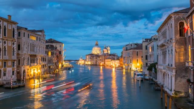 View of Santa Maria della Salute in Venice at night video