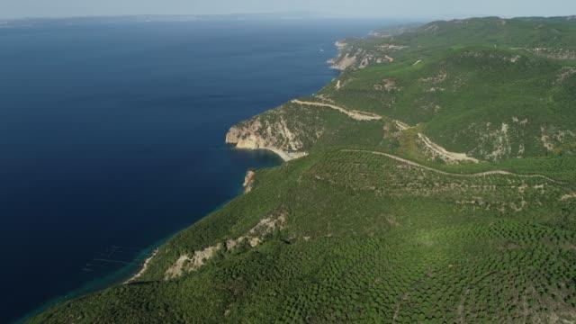 View of Saros Bay/Mountain and Aegean Sea/Gallipoli(Gelibolu) Canakkale Canakkale/Turkey 11/15/2018 View of Saros Bay/Mountain and Aegean Sea/Gallipoli(Gelibolu) Canakkale Canakkale/Turkey 11/15/2018 çanakkale province stock videos & royalty-free footage
