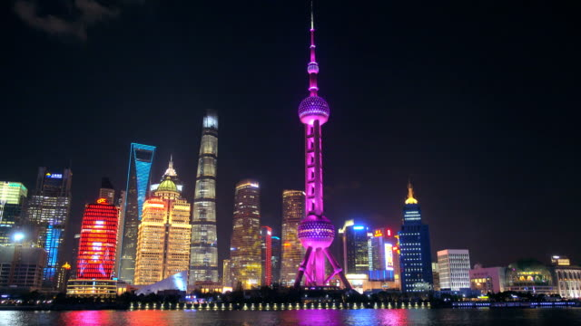 View of Shanghai Skyline at night. Oriental Pearl Tower and Huangpu River. View of Shanghai Skyline at night. Oriental Pearl Tower and Huangpu River. shanghai stock videos & royalty-free footage