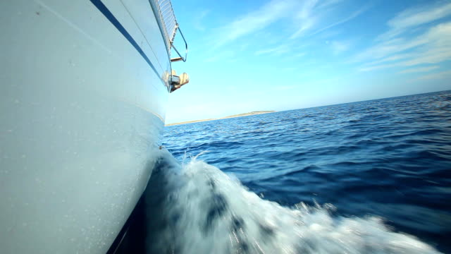 View of side of sailing boat on Adriatic sea in Croatia video