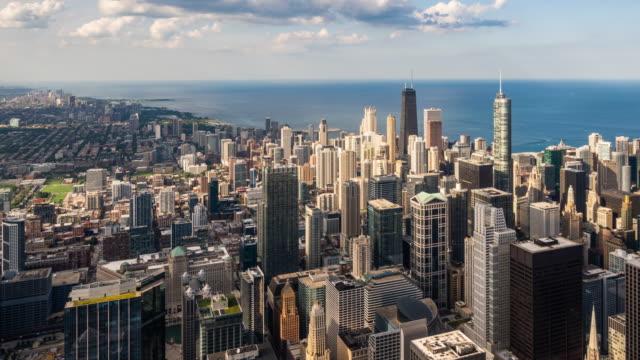 t/l ws ha pan vy över skyskrapor i chicago/chicago, usa - panorering bildbanksvideor och videomaterial från bakom kulisserna