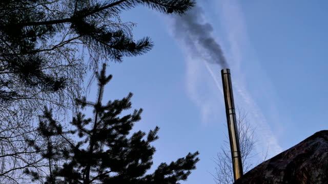 ansicht von rauch aus metalltrichter ausgehen - kiefernwäldchen stock-videos und b-roll-filmmaterial