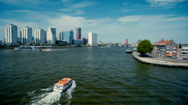 view of  speed boat on river in rotterdam - rotterdam video stock e b–roll
