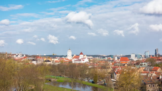 view of spring vilnius, lithuania, panoramic time-lapse - lituania video stock e b–roll