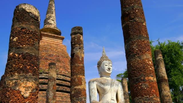 TD, LA, WS View of Sukhothai Historical Park, Sa Sri temple, Thailand Tilt down, low angle, wide shot view of Sukhothai Historical Park, Sa Sri temple, Thailand sukhothai stock videos & royalty-free footage