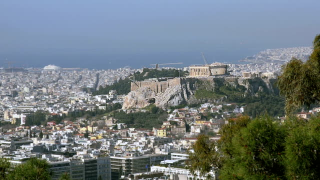 View of the ancient Acropolis in Greece video
