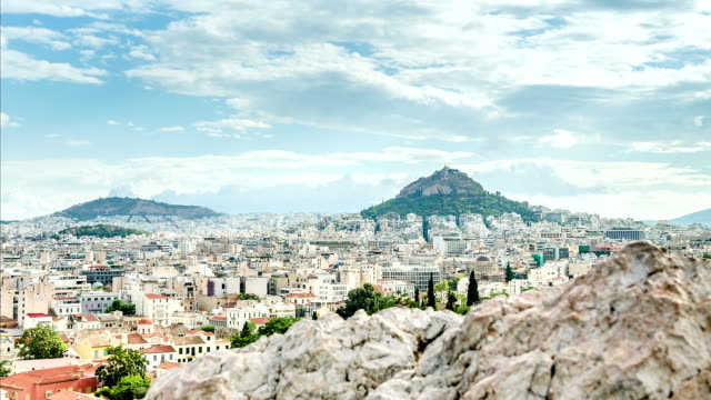 View of the ancient city of Athens, time lapse video