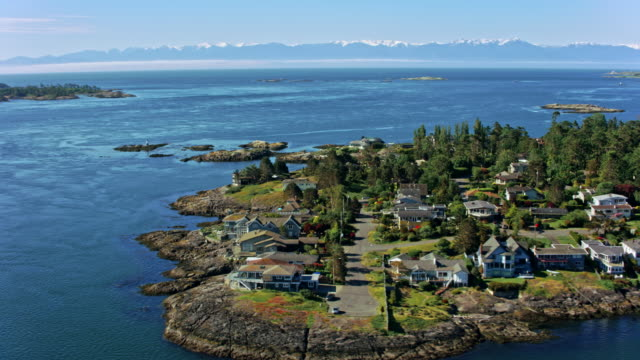 AERIAL View of the Baynes beach, Victoria, Canada video