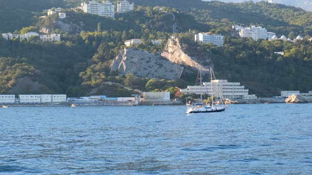 View of the beautiful sea coast of Yalta, Crimea, taken from a pleasure boat