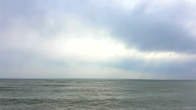 View of the Black Sea in the winter during a strong wind in overcast weather video