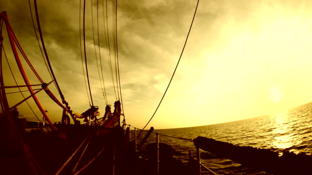 view of the bowsprit of a sailing ship video