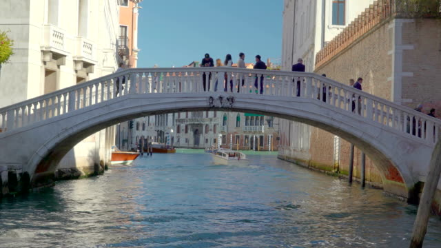 View of the bridge and the canal in Venice Italy video