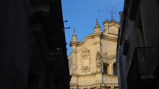 view of the church of saint matthew at sunset - lecce video stock e b–roll