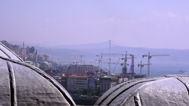 View of the city from the Suleymaniye Mosque on a sunny summer day, Istanbul, Turkey - video