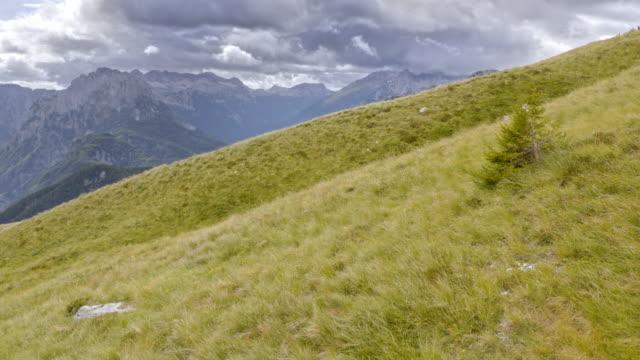 flygfoto över molnigt bergen i fjärran från den gröna berg äng - bergsrygg bildbanksvideor och videomaterial från bakom kulisserna