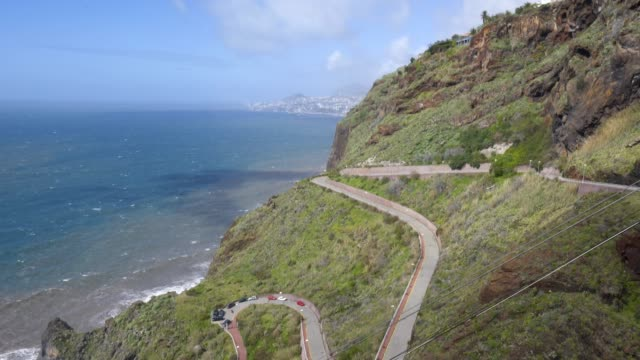 View of the coastline of Caniço, Madeira with Funchal city on the background View of the coastline of Caniço, Madeira with Funchal city on the background funchal stock videos & royalty-free footage