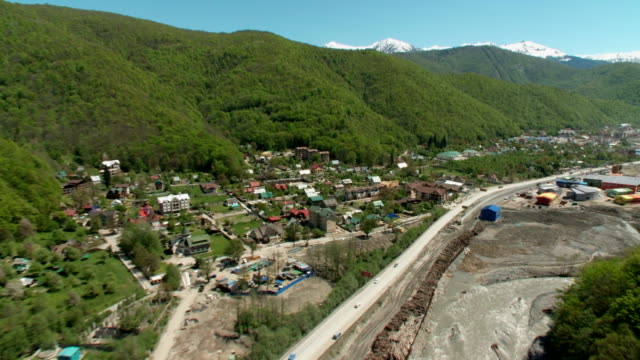 Aerials. Russia - Sochi 2012: View of the construction of the infrastructure for the Olympic Games video