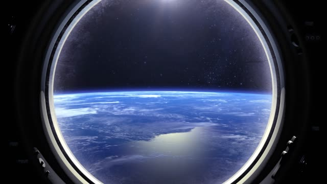 View of the Earth through the window of the spaceship. ISS. Flies forward. Realistic atmosphere. Volumetric clouds. View from space. Starry sky. Space, earth, orbit, video
