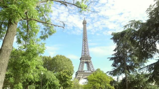 Vue sur la Tour Eiffel à travers les arbres (Paris) - Panorama 4K - Vidéo