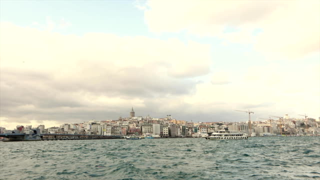 View of the Galata Tower from the other side of the Bosphorus, Galata Tower View of the Galata Tower from the other side of the Bosphorus, Galata Tower. coastal feature stock videos & royalty-free footage