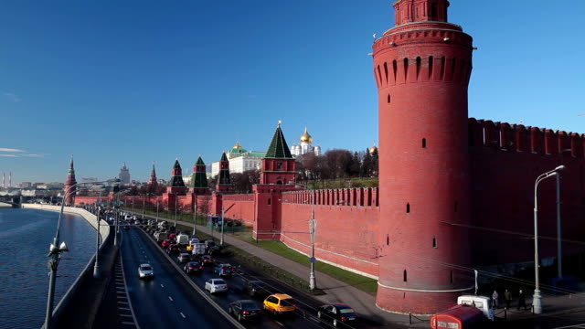 View of the Kremlin and the Kremlin Embankment by the Moscow River. video