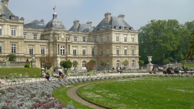 View of the Luxembourg garden and palace Paris, France - 30 April 2019. View of the Luxembourg garden and palace palace stock videos & royalty-free footage