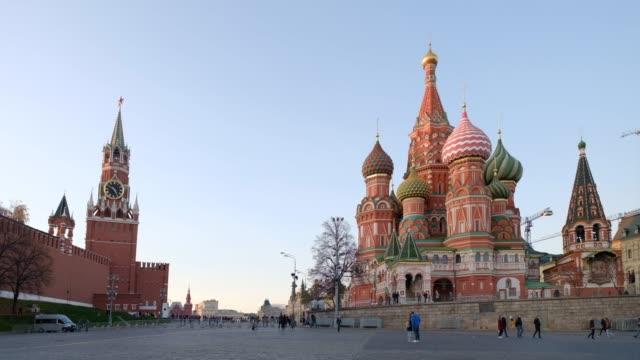 utsikt över moskvas kreml, röda torget och vasilijkatedralen - röda torget bildbanksvideor och videomaterial från bakom kulisserna