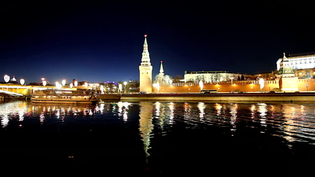 View of the Moskva River and the Kremlin (at night), Moscow, Russia--the most popular view of Moscow View of the Moskva River and the Kremlin (at night), Moscow, Russia--the most popular view of Moscow russian ethnicity stock videos & royalty-free footage