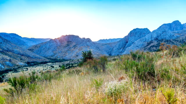 View of the mountain range in the summer at sunrise in southern Kazakhstan video