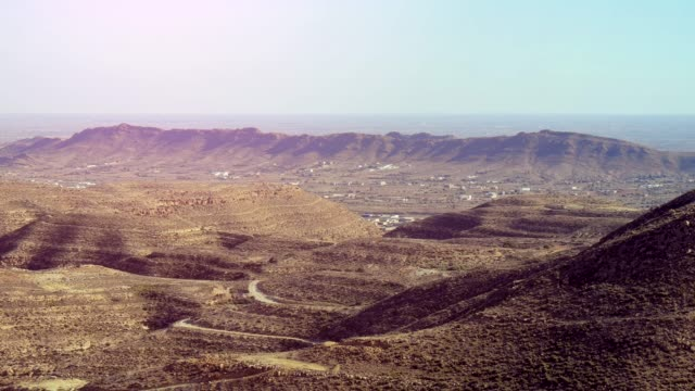 View Of The Mountainous And Desert Terrain With Distant Town