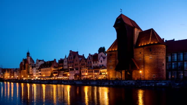 View of the old town in Gdansk at night video