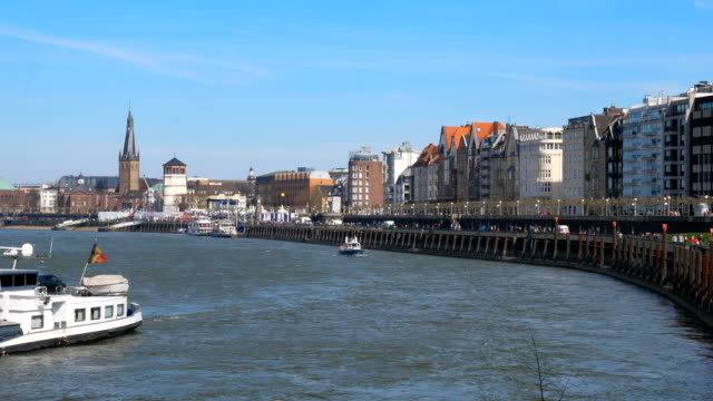 View of the old town of Dusseldorf at the river Rhine video
