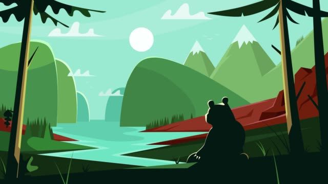 View of the peaceful river valley from the depths of the forest. Silhouette of a bear looking at a natural summer landscape.