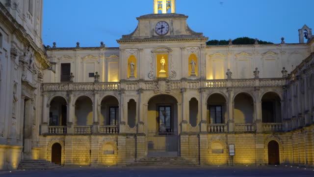 view of the piazza del duomo and caritas diocesana - lecce video stock e b–roll