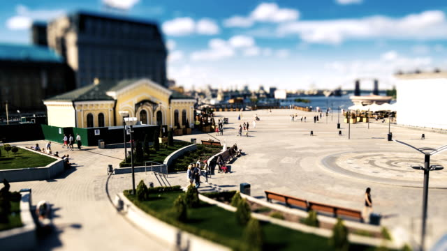 View of the Postal Square in Kiev. People are walking around. Time lapse with tilt-shift effect. video