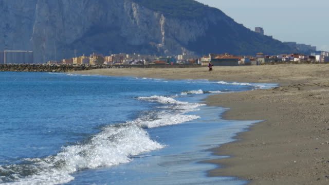 View of the Rock of Gibraltar and the Beach with Sea Waves video