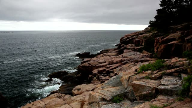 View of the rocky cliff shore line at Acadia National Park. video