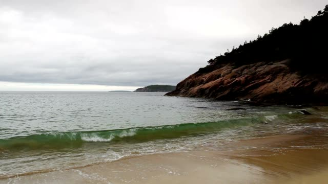 View of the rocky cliff shore line at Acadia National Park video