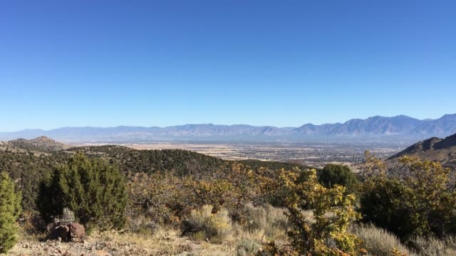 View of the Salt Lake Valley and Wasatch Front desert Mountains in Autumn Fall hiking Rose Canyon Yellow Fork, Big Rock and Waterfork Loop Trail in the Oquirrh Mountains, Utah, USA. video
