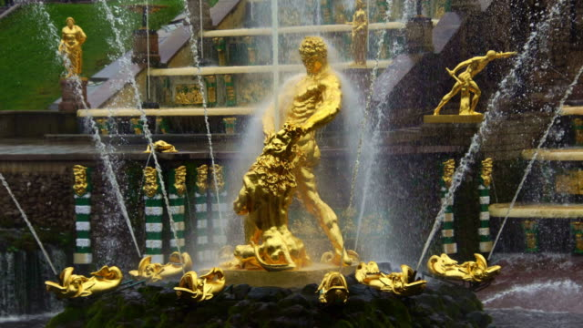 View of the statue of Samson Lion fountain in Peterhof  St. Petersburg Russia