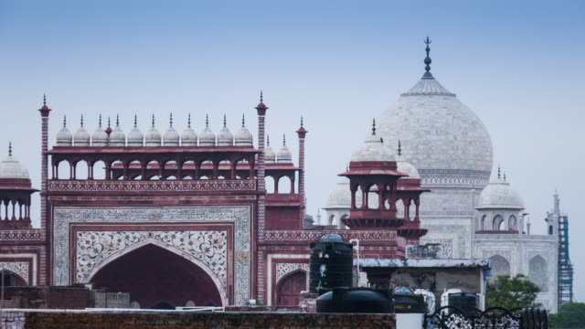 View of the Taj Mahal from a rooftop in Agra, India video