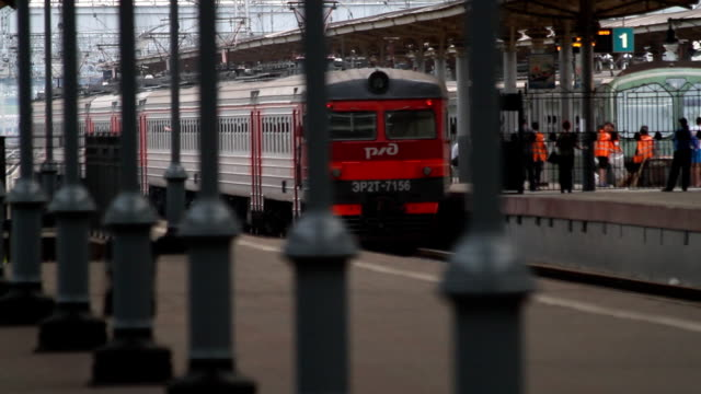 View of the train through a fence / Russia. Moscow video