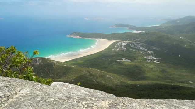 view of tidal river and squeaky beach in wilsons prom in australia in the summer, truck left move - prom stock videos and b-roll footage