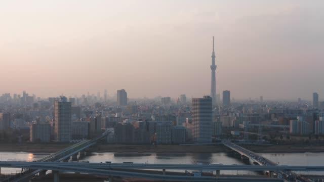 タワーホール船堀展望デッキから見る東京タワー - 夜明け点の映像素材/bロール
