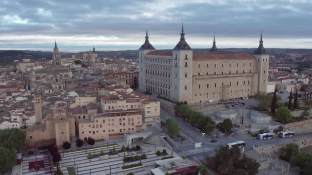 view of toledo with alcazar on top,medieval town,spain - madrid video stock e b–roll