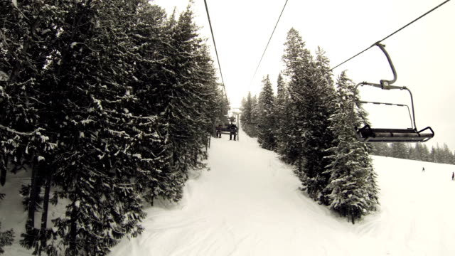 View of tow line from chair lift at ski hill video