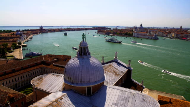 View of Venice from Saint George church roof, tourism and transportation video