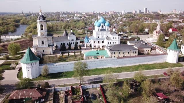view of  vysotsky  monastery   in serpukhov - верующий стоковые видео и кадры b-roll