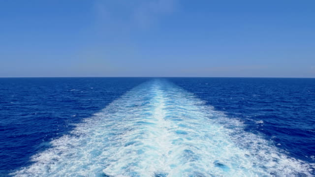 View of Wake Behind Large Cruise Ship