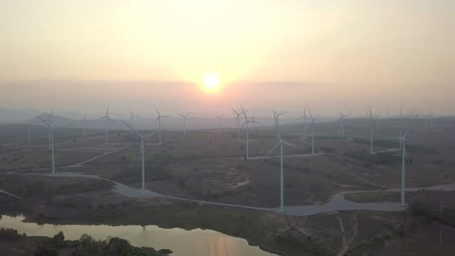 View of wind Turbines with Sunset video